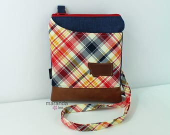 ZOE Messenger Cross Body Sling Bag -Red Plaid with Montana Patch and PU Leather READY to SHIp