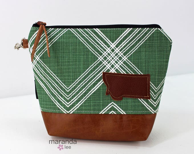 AVA Clutch Medium - Colton Green with Montana Patch with PU Leather READY to SHIp