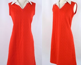 1960s/1970s Red Orange Cable Knit Design Sleeveless Shift/Sack Dress, MOD Dress
