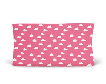 Changing Pad Cover French Rose Pink Clouds- Pink Changing Pad- Cloud Changing Pad- Changing Pad Cover- Minky Changing Pad- Organic Cover