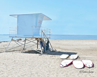 Lifeguard tower and Surfboards Photography, Fine Art Print, Ocean Photography, Beach Photography, Lifegurard photography
