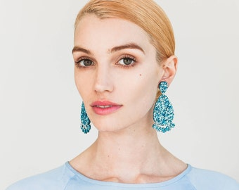 Super Lush Drop Earrings - Ice Blue Riot - Laser Cut Glitter Drops - Each To Own