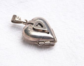 Heart Locket 4 Photo Sterling Silver Pendant Vintage Mexican Jewelry Lucky in Love Clover