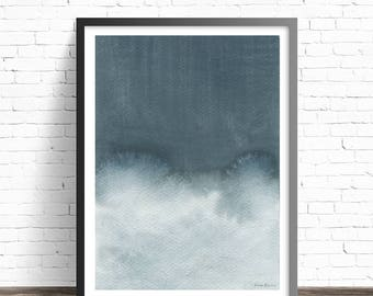 Grey Print. Watercolor Print. Modern home decor. Abstract painting print. Abstract wall art. Minimal art. Modern art print.