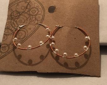 Wrapped wire hoop earrings