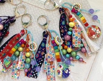 Lucky charm bag charm, key fob with polymer clay, purple/green Kaleidoscope collection