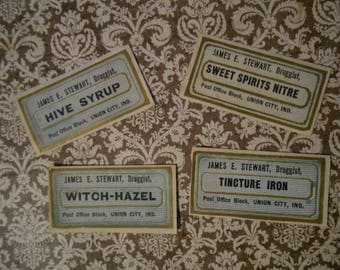4 Victorian Gilded Druggist Apothecary Labels