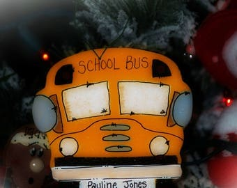 Personalized SCHOOL BUS Ornament Christmas bus driver gift