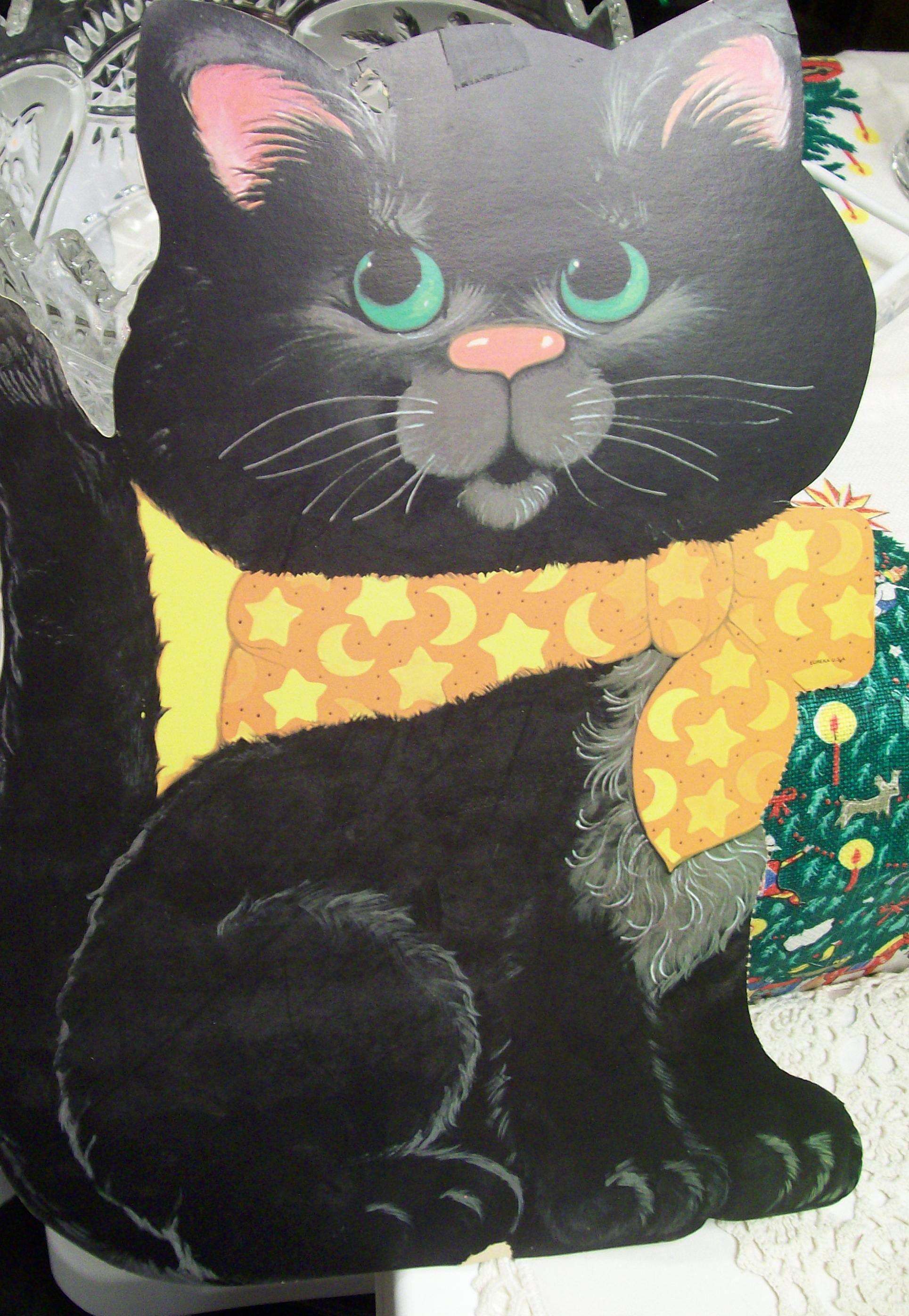 Vintage Black Cat, Kitty Cat, Halloween Cardboard Cut Out, Window or ...