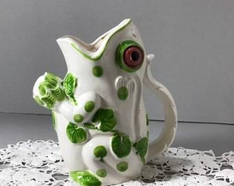 Japan Ceramic Frog Pitcher, Crown Art Ceramics, Glazed Ceramic White Frog with Green Leaves Pitcher, Frog Vase, Frog Planter,