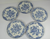Vintage BLUE TRANSFERWARE Bread PLATE Set/5 Ironstone Bristol Crown Ducal Transfer England Dessert Tidbit