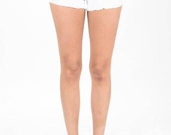 Black White Distressed Denim Shorts
