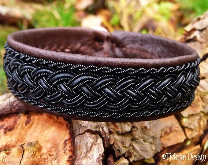 Viking Sami Bracelet GIMLE Unisex Gothic Cuff Bangle Handcrafted with Black Wire and Leather Braid on Antique Brown Reindeer Leather