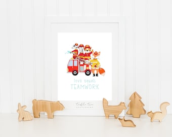 Children's Wall Decor, Instant Download, PDF Printable File - Teamwork, Firefighters