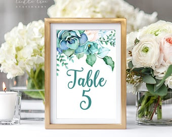 Reception Table Numbers - Teal Garden (Style 13744)