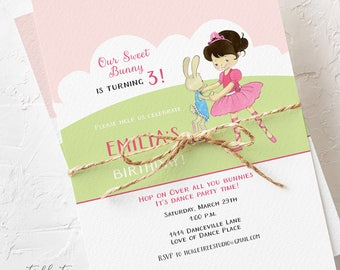 Birthday Party Invitations - Calling all You Bunnies, Girl's Birthday (Style 13390)