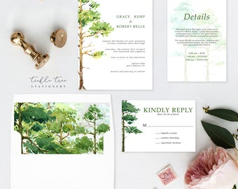 Semi Custom Wedding Invitation Suite - Forest Dreams (Style 13777)