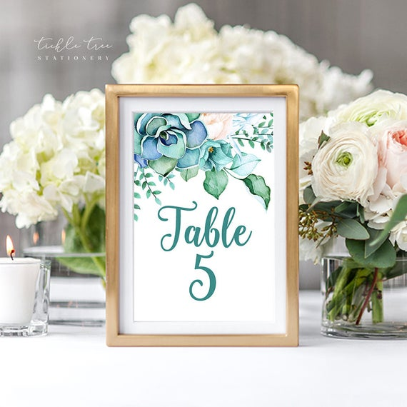 Table Numbers - Teal Garden (Style 13744)