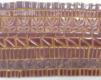 165+ Handmade Mosaic Tile Pieces Ceramic Stoneware Deep Lavender Violet Purple Shades Craft Tile Assortment #2