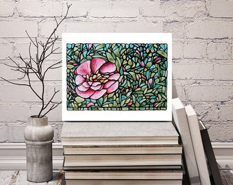 Pink Peony Print - FREE Shipping - Stained-Glass Art - Pink Floral Wall Hanging - Art Nouveau Artwork - Pink Flower Room Decor - Peony Art