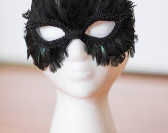 Black raven feather halloween masquerade mask
