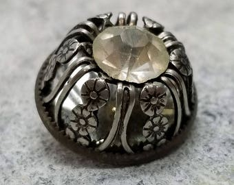 Lovely Antique Rhinestone Jewel Pierced Silver Metal Twinkle Sewing Button ~ High Dome ~ Openwork Flower Pattern ~ just over 3/4 inch 19mm