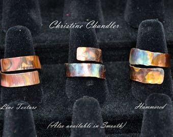 Copper Adjustable Wrap Ring - Flame Painted - Adjustable Size - Copper Ring - choose texture - Christine Chandler - Slim 1/4 inch band width