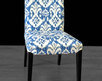 Ikat Indigo Blue IKEA HENRIKSDAL Custom Dining Chair Cover