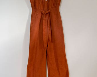 70s Young Edwardian by Arpeja Burnt Orange Jumpsuit Size Small