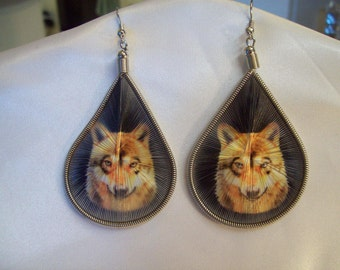 "Native Style Beautiful Thread ""Wolf "" Animal Wildlife Earrings Southwestern, Boho, Hippie Great Gift, Ready to Ship"