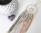 Mini Macrame Dream Catcher // Pastel, Colorful Dip Dye Ombre, White, Copper Beads, Boho Nursery Decor, Baby Shower Gift, Car Dreamcatcher