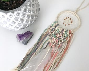 Mini Macrame Dream Catcher // Pastel, Colorful Dip Dye Ombre, White, Copper Beads, Boho Nursery Decor, Baby Shower Gift, Car Dreamcatcher