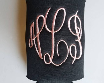 Monogrammed can cozie, Fancy Fun Circle Font, beverage insulator, personalized,  Solid Color, collapsible