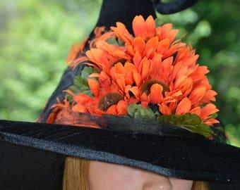 Orange Flower Witches Hat
