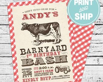 Printed Barnyard Farm Birthday Invitations and Envelopes - Print and Ship Invitations