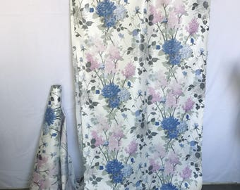 Vintage Floral Cotton Chintz, Midcentury Upholstery, Lilac Drapery