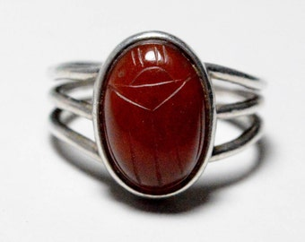 SALE Vintage Sterling Silver Carnelian Egyptian Revival Scarab Band Ring Size 8