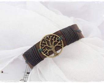 Men's Leather Bracelet, Tree Of Life Bracelet, Leather Cuff Bracelet, Men's Leather Wristband, Celtic Leather Bracelet, Viking Leather Cuff