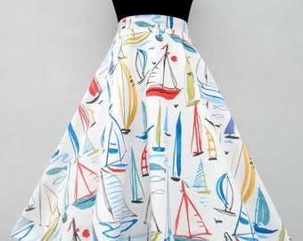 The Mediterranean 50s style circle skirt, custom made vintage inspired boats print skirt