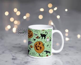 Halloween Ceramic Mug, Halloween Design Mug, Cute Halloween Gifts, Cute Halloween Pattern, Halloween Mugs, Cute Goth Mug, Cute Goth Gift