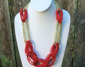Red and Gold Statement Necklace, Beaded Gold and Red Statement Necklace