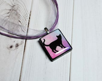 Cat pendant, black cat necklace, colorful kitty, nature jewelry, cat jewelry, Scrabble jewelry, gifts for her, gift under 10, resin jewelry