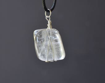 Clear Calcite Necklace, Calcite Necklace, Gemstone Jewelry, Long Cord Necklace, Crystal and Minerals, Polished Calcite, Wire Wrapped Calcite