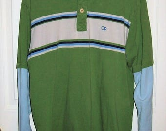 Vintage Men's Green & Blue Striped Polo Rugby Shirt by Ocean Pacific Large Only 10 USD