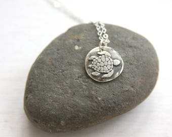 Turtle necklace, wax seal necklace, wax seal jewelry, charm necklace, fine silver, everyday jewelry, beach jewelry