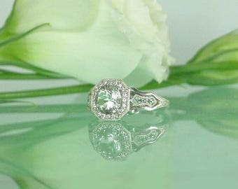 Sterling Engagement Ring, Engagement Ring, Unique Engagement Ring, Natural Gemstone Engagement Ring, Art Deco Ring, Emerald Ring