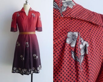 Vintage 70's Red & Black Floral Op Art Fit And Flare Dress XS or S