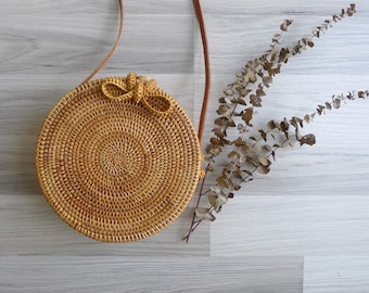 Vintage Round Woven Rattan Basket Bag with Leather Sling Strap