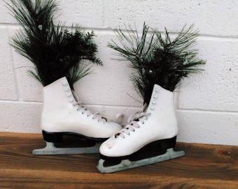Vintage Ice Skates -  White Ice Skates - Christmas Ice Skates - Christmas Wreath - Cottage - Farmhouse - Kids Skates