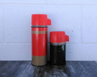Vintage Thermos - Rustic Thermos - Vintage Camping - Green Decor- Red Decor - Glamping